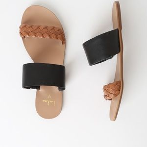 Caylee Cognac and Black Nappa Leather Sandals